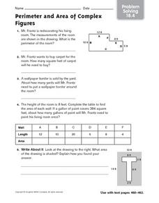 Perimeter and Area of Complex Figures problem solving 18.4 Worksheet