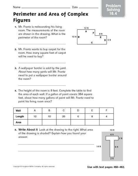 perimeter and area of complex figures problem solving 18 4 worksheet for 4th 6th grade. Black Bedroom Furniture Sets. Home Design Ideas