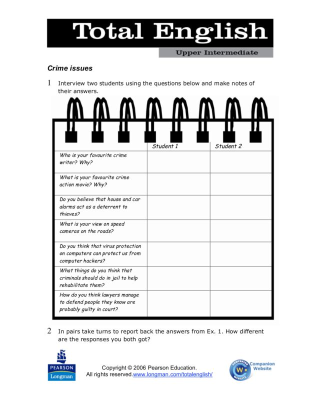 Total English Upper Intermediate: Crime Issues Graphic Organizer