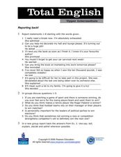 Total English Upper Intermediate: Reporting Back! Worksheet