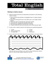 Total English Upper Intermediate: Relating to Relative Clauses Worksheet