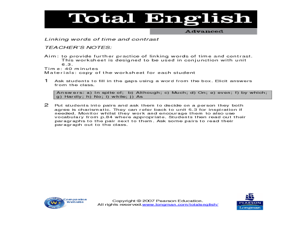 English In Italian: Total English Advanced: Linking Words Of Time And Contrast