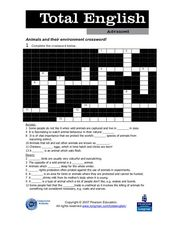 Total English Advanced: Animals and Their Environment Crossword! Worksheet
