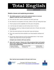 Total English Advanced: Relative Clauses and Explaining Procedures Worksheet