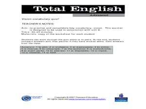 Total English Advanced: Vision Vocabulary Quiz! Worksheet