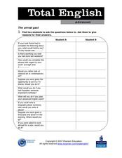 Total English Advanced: The Unreal Past Worksheet
