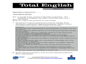 Total English Advanced: Dependent Prepositions Worksheet