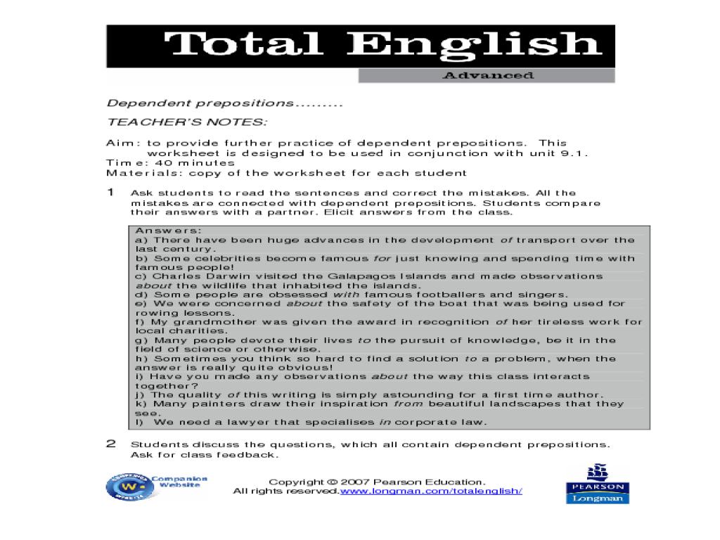 worksheet Advanced Preposition Worksheets total english advanced dependent prepositions worksheet for 8th 11th grade lesson planet