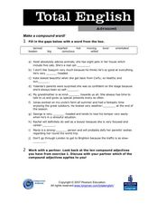 Total English Advanced: Make a Compound Word! Worksheet