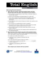Total English Advanced: Discussing Financial Decisions Worksheet