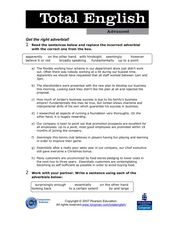 Total English Advanced: Get the Right Adverbial! Worksheet