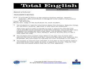 Total English Advanced: Spend a Fortune Worksheet