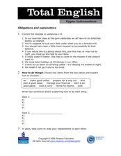 Total English Upper Intermediate: Obligations and Explanations Worksheet