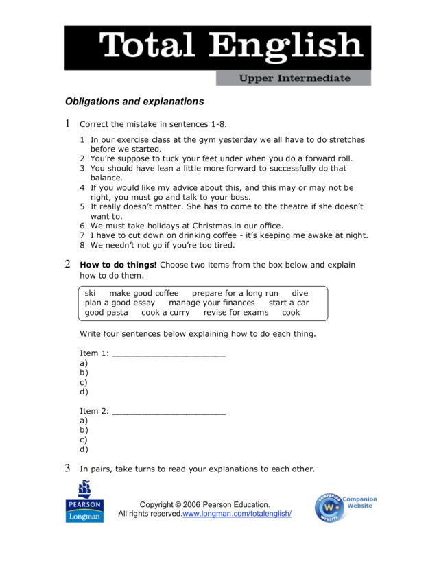 total english upper intermediate obligations and explanations worksheet for 4th 6th grade. Black Bedroom Furniture Sets. Home Design Ideas