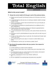 Total English Advanced: Which is the Correct Modal? Worksheet