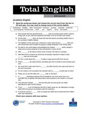Total English Advanced: Academic English Worksheet