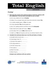 Total English Advanced: Fronting! Worksheet