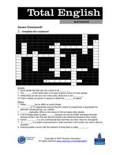Total English Advanced: Issues Crossword! Worksheet