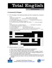 Total English Intermediate: A Crossword of Changes Worksheet