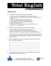 Total English Upper Intermediate: Question Time! Worksheet