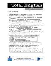 Total English Upper Intermediate: Jungle Adventure Worksheet