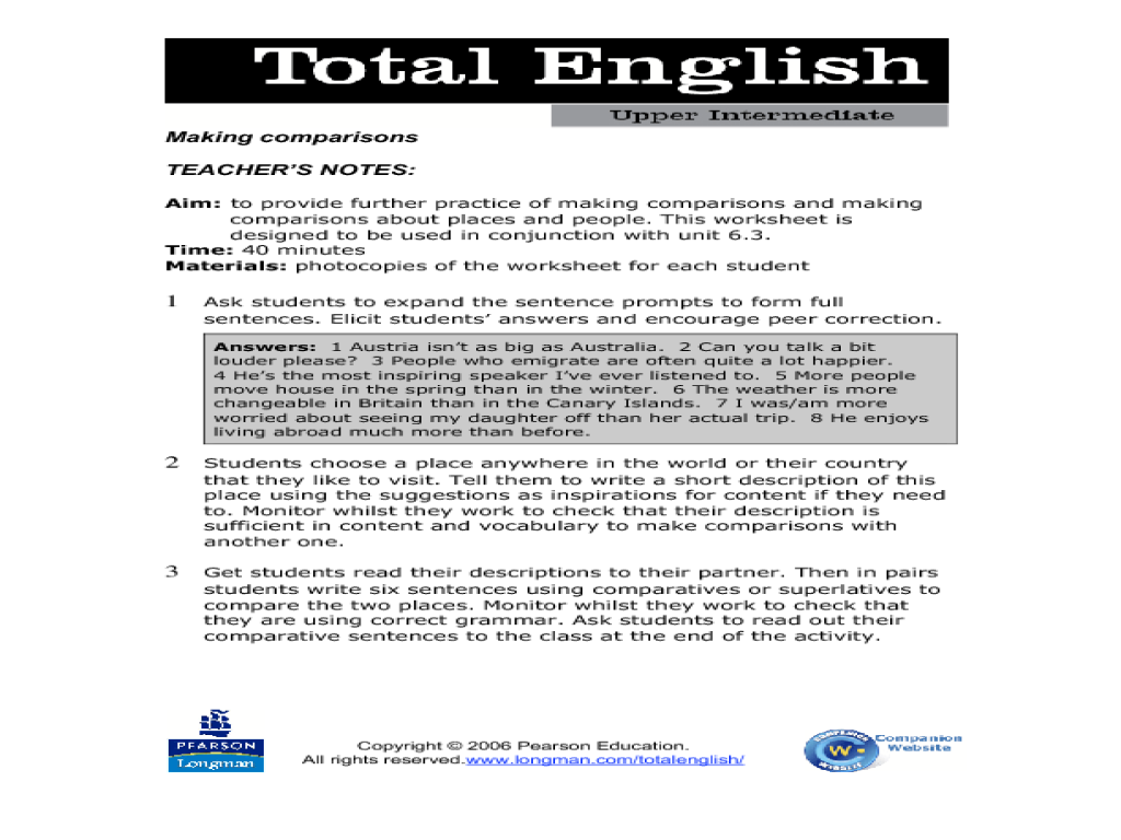 Total English Upper Intermediate: Making Comparisons
