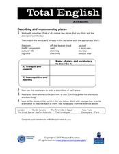Total English Advanced: Describing and Recommending Places Worksheet