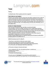 Taste - ELL Worksheet