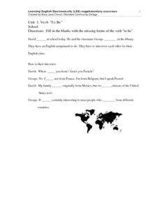 "Unit 1: Verb ""To Be"" School Worksheet"