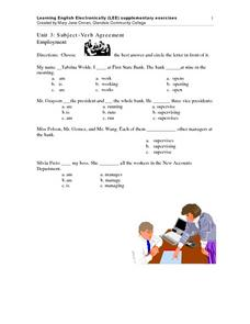Unit 3: Subject-Verb Agreement Worksheet