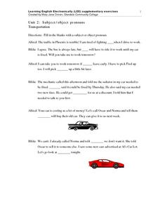 Unit 2: Subject/Object Pronouns Transportation Worksheet