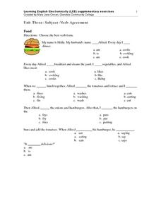 Unit Three: Subject-Verb Agreement Food Worksheet