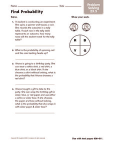 Find Probability: Problem Solving Worksheet