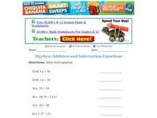 Algebra: Addition and Subtraction Equations Worksheet