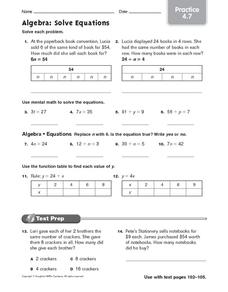 Algebra: Solve Equations: Practice Worksheet