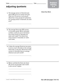 Adjusting Quotients: Problem Solving Worksheet