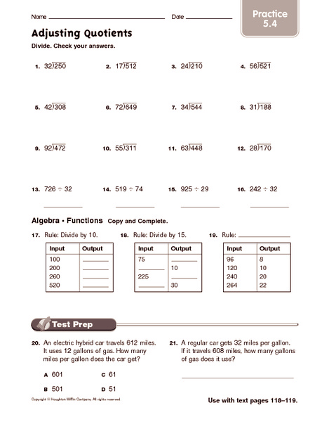 Adjusting Quotients Worksheet For 5th 6th Grade Lesson