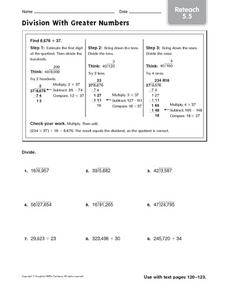 Division With Greater Numbers - Reteach 5.5 Worksheet