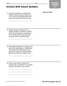Division With Greater Numbers problem solving 5.5 Worksheet