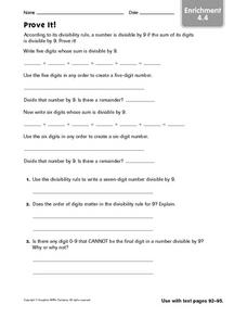 Prove It! Divisibility Enrichment Worksheet