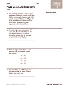 Place Value and Exponents: Problem Solving Worksheet