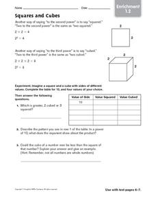 Squares and Cubes: Enrichment Worksheet