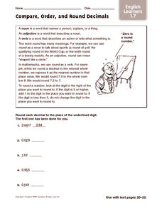 Compare, Order, and Round Decimals: ELL Worksheet