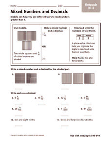 Mixed Numbers and Decimals: Reteach Worksheet