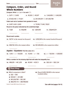 Compare, Order, and Round Whole Numbers: Practice Worksheet