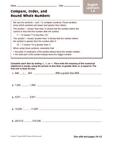Compare, Order, and Round Whole Numbers: ELL Worksheet