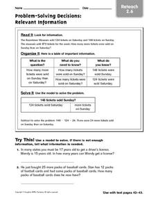Problem-Solving Decisions: Relevant Information reteach 2.6 Worksheet
