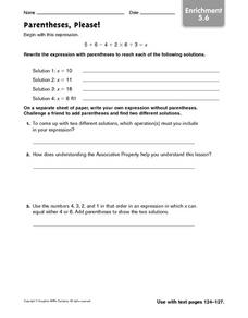 Parentheses, Please! - Enrichment 5.6 Worksheet