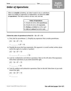 Order of Operations: English Learners Worksheet