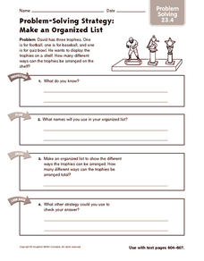 Problem-Solving Strategy: Make an Organized List: Problem Solving Worksheet
